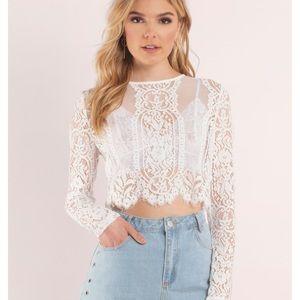 Tobi white lace crop top. 💕